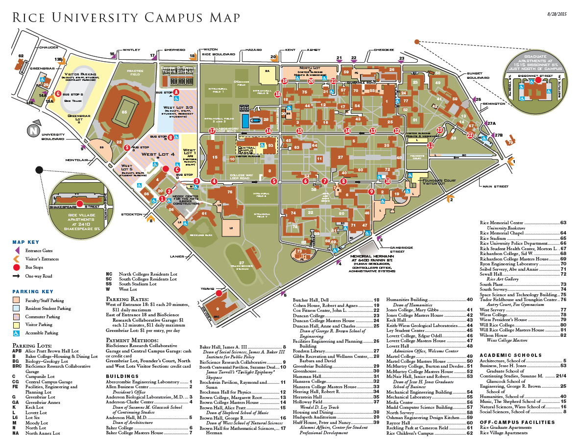 Rice University Campus Map